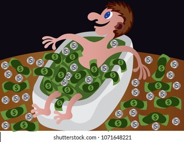 A guy sits in bathtub Full of Money