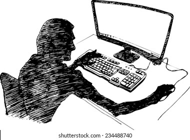 Guy sitting at the computer. Vector sketch