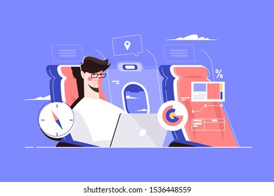 Guy sitting on aircraft seat in plane vector illustration. Man in glasses working at laptop with business charts and graphs during biz flight flat style concept