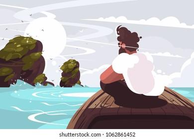 Guy sitting on wooden boat in sea. Marine traveler in swimming. Vector illustration
