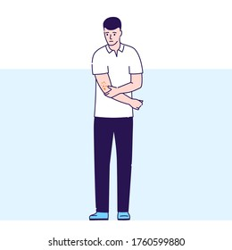 Guy with skin rash vector illustration. Dermatological diseases. Itchy spots on body. Isolated cartoon character on blue background.