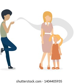 the guy smoking a cigarette. mother and baby are standing near. flat vector illustration.