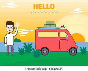 The guy is standing on the beach near his car. Pink car for travel. Red car. The man on the sea. Tourist. Travel agent. Office man with glasses on the sea.