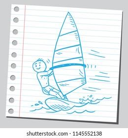 Guy surfing on wind board
