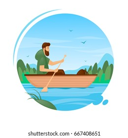 Guy swims by boat on the river, camping, summer. Flat vector illustration in cartoon style.