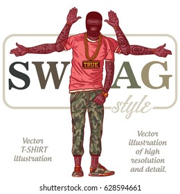 The guy in tattoos - SWAG style. African American in ski mask. Vector t-shirt illustration.