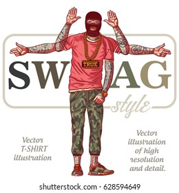 The guy in tattoos - SWAG style. Swag boy in ski mask Vector t-shirt illustration.