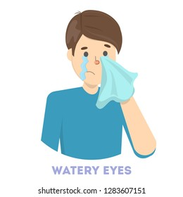 Guy in tears. Symptom of flu or cold. Male character with watery eyes. Sad man. Flat vector illustration
