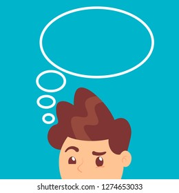 The guy thinking with think bubble above head. Vector illustration of the guy thinking with think bubble above head in a flat style on a blue background.