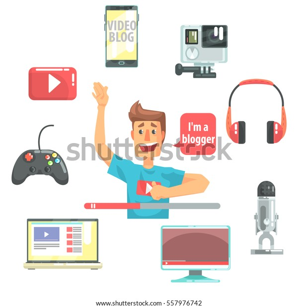 Guy Video Blogger And His Recording Equipment, Set Of Blog And On Line Blogging Icons Around A Show Host. Man Streaming His Personal Podcast And Internet Channel As Profession Vector Illustration.