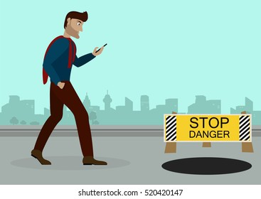 Guy walking down the street with a phone in his hand, browsing social networks, on the road in front of an open manhole and a sign warning of the danger.Vector Illustration