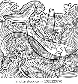 The guy and water. Whale and marine design elements could be used for coloring book. Black and white in zentangle style.