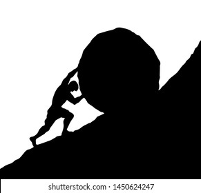 Guy worker strong figure climb carry goal on white sky text space. Line black ink hand drawn myth male hero force useless vain career action logo icon sign. Old ancient art doodle sketch vector legend