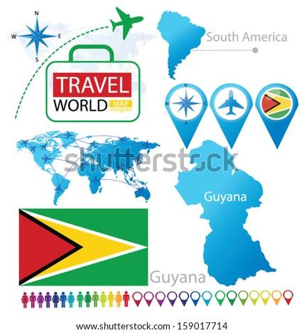 Guyana Flag World Map Travel Vector Stock Vector Royalty Free