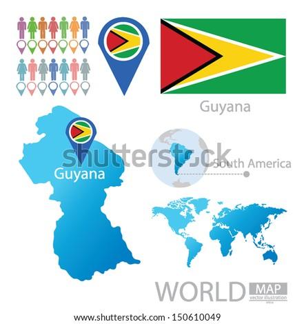 Guyana Flag World Map Vector Illustration Stock Vector Royalty Free