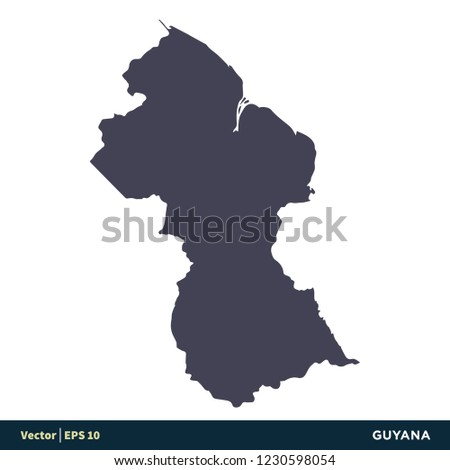 Guyana South America Countries Map Icon Stock Vector ...