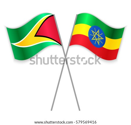 Guyanese Ethiopian Crossed Flags Guyana Combined Stock