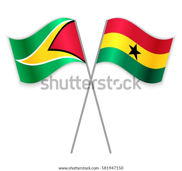 Guyanese and Ghanaian crossed flags. Guyana combined with Ghana isolated on white. Language learning, international business or travel concept.