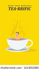 Guy/man taking bath and relaxing in tea cup. Tea Drinking Template Design. Bathing in tea concept.