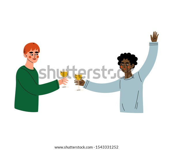 Guys Celebrating an Important Event, Young Men Clinking Glasses and Drinking Alcohol at Party Vector Illustration