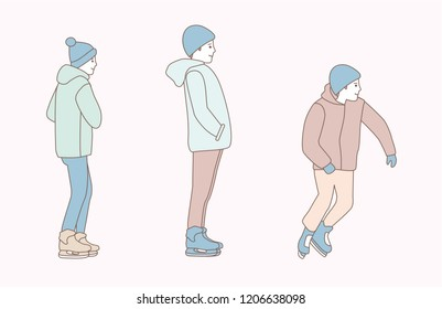 Guys ice skating outdoors. hand drawn style vector doodle design illustrations on white background.