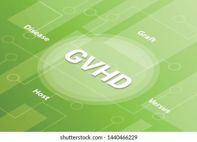 gvhd concept words isometric 3d word text concept with some related text and dot connected - vector