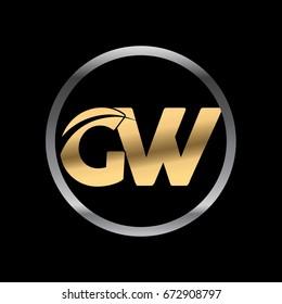 gw initial letter logo inside circle shape, gw inside o rounded lowercase logo gold silver