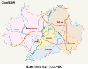 gwangju road and district map