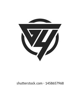 GY, YG, G4, 4G Triangle Logo Circle Monogram Design Vector Super Hero Concept