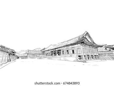 Gyeongbokgung. Gyotaejeon. Seoul. The Republic of Korea. Hand drawn city sketch. Vector illustration.