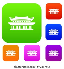 Gyeongbokgung palace, symbol of Seoul set icon in different colors isolated vector illustration. Premium collection