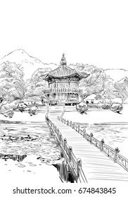 Gyeongbokgung.Hyangwonjeong. Seoul. The Republic of Korea. Hand drawn city sketch. Vector illustration.