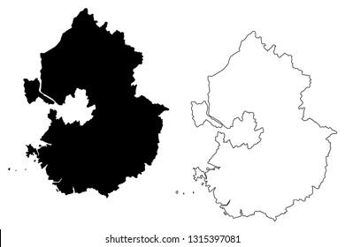Gyeonggi Province (South Korea, Republic of Korea, ROK, Provinces of South Korea) map vector illustration, scribble sketch Gyeonggi-do map