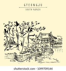Gyeongju, South Korea, Asia. Donggung palace and Wolji pond (Anapji pond). Hand drawing. Travel sketch. Vintage touristic postcard, poster or book illustration in vector