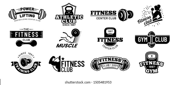 Gym badges. Bodybuilding stencil label, fitness monochrome silhouette badge and athlete muscles. Bodybuilding iron stamp, hipster athletic logotype. Isolated vector illustration symbols set