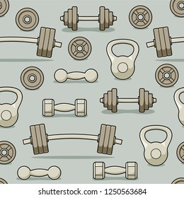 Gym barbells and dumbbells seamless pattern, fitness center vector design