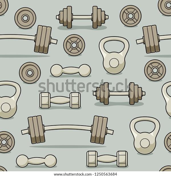 Gym barbells and dumbbells seamless pattern, fitness center vector design
