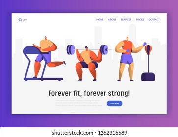 Gym Boxing Training Character Set for Website Design. Sport Cardio Workout Man Figure Collection. Healthy Weightlifting, Boxer Athlete Landing Page Concept. Flat Vector Illustration