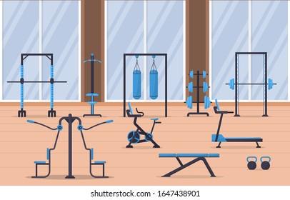 Gym Center Interior Sport Club Fitness Weight Bodybuilding Equipment Vector Illustration