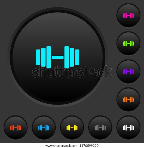 Gym dark push buttons with vivid color icons on dark grey background