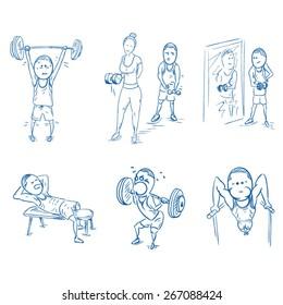 Gym doodle set. EPS 10 vector illustration