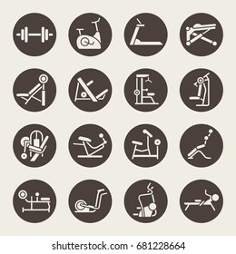 Gym equipment icon set