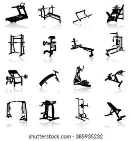 Gym equipment Icon Set- Illustration