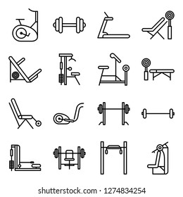 Gym equipment icons pack. Isolated gym equipment  symbols collection. Graphic icons element