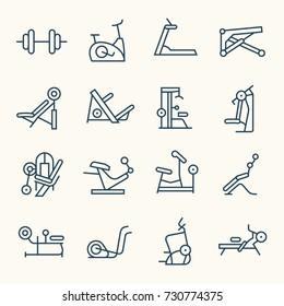 Gym equipment line icon set
