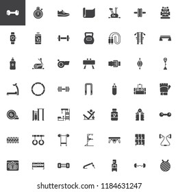 Gym Equipment vector icons set, modern solid symbol collection, filled style pictogram pack. Signs, logo illustration. Set includes icons as Dumbbell, Stationary bike, Kettlebell, Treadmill, Barbell