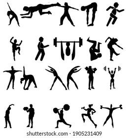 gym exercise body builder black icon vector illustration design