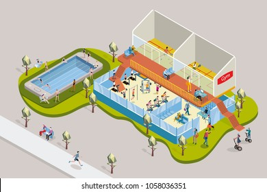 Gym with exercise equipment and Swimmingpool in Isometric View. 