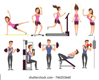 Gym exercises, body pump workout vector set with cartoon sport man and woman characters. Fitness people in gym, sport and fitness exercise illustration