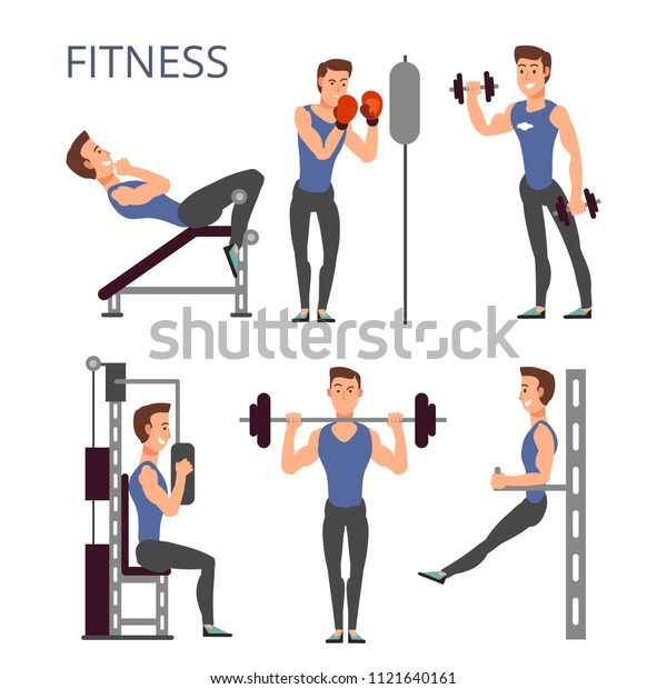 Gym Exercises Body Pump Workout Vector Stock Vector Royalty Free 1121640161